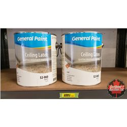 New/Old Stock Paint : General Paint Ceiling Latex Spatter Resistant Coating - White (2 Gallons)