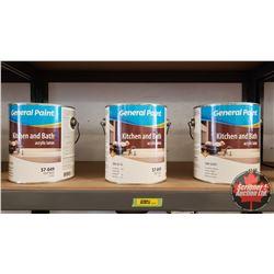 New/Old Stock Paint : General Paint Kitchen & Bath Acrylic Latex Semi Gloss Deep Base (3 Gallons)