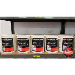 New/Old Stock Paint : General Paint Breeze - Acrylic Latex - Flat White (5 Gallons)