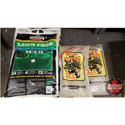 New/Old Stock : Garden Master Lawn Food 24-4-12 (8kg Bag) & Vermiculite (6L Bags) (2 Bags)