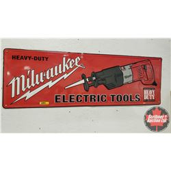 "Tin Sign - Single Side ""Milwaukee Electric Tools"" (12"" x 36"")"