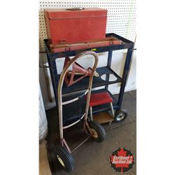 "Homebuilt Shop Cart with Tool Box & 1/2""Drive Torque Wrench (Rusty) & Jack Stand & Mechanics Stool &"