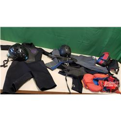 Box Lot: Helmets (2); Children's Life Jackets (2 Small)  & 3 Wet Suits (Men's Med & 9/10 & Small)