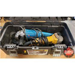 Plastic Tool Box & 2 Angle Grinders