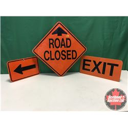 """Signs (3) - Alum Single Sided - Reflective : Road Closed 24"""" x 24"""" & Exit 12"""" x 24"""" & Arrow 12"""" x 18"""