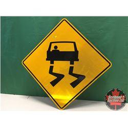 "Sign (1) - Alum Single Sided - Reflective : Slippery Road 30"" x 30"""
