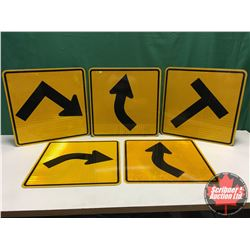 """Signs (5) - Alum Single Sided - Reflective : Variety of T & Curves (All Measure 24"""" x 24"""")"""