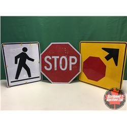 """Signs (3) - Alum Single Sided - Reflective : Pedestrian 30"""" x 24"""" & Stop Sign Ahead 30"""" x 30"""" & STOP"""