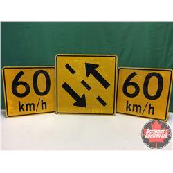 "Signs (3) - Alum Single Sided - Reflective : 2 Way Traffic 30"" x 30"" & (2) 60km/hr 24"" x 24"""