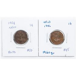 Lot (2) NFLD One Cent: 1942 MS60 and 1938  AU50
