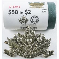 RCM D Day 1944-2019 Special Wrap Roll,  25x2.00 Colour 2.00 Coin, Plus S.D.G. Pin