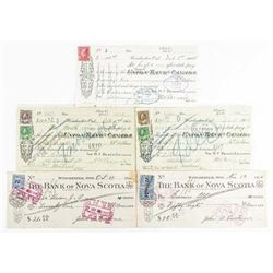 Estate Lot - Canada Bank Receipts with  Revenue Stamps