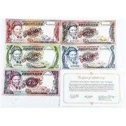 Group of (5) Notes of SWAZILAND All Specimen  Match Serial Numbers with C.O.A.