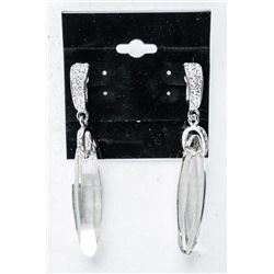Ladies MMCrystal Earrings with White Gold  Plating. Bezel Set Briolette Swarovski  Elements and Beze