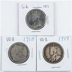 Group (3) 1917-1918-1919 Canada Silver 50  Cent
