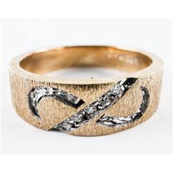 Estate Fancy 10kt Diamond Band Ring - Size  10.5. 5.98 grams