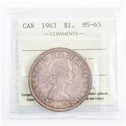 1963 Canada Silver Dollar MS65. ICCS. (CXR)