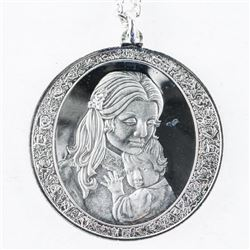 Estate Silver Necklace, Mother and Child  Pendant 21.06grams