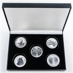 Lot (5) Bullion Collection - .999 Fine Silver  1oz Coins. 5oz ASW