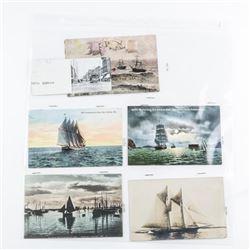 Estate Postcard Display (5) Ships Circa 1919