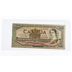 24kt Gold Collector Novelty Note - Canada  1954 - 1000.00 with Colour. Cased.