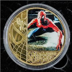 Spiderman Gold Plated Medallion with Colour