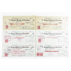 Group (6) Vintage Royal Bank Cancelled Checks  with Excise Stamps