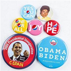 Lot (6) Pinbacks with Obama
