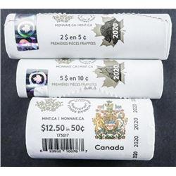 RCM Lot (3) Original Wrap Rolls, 2020 5 cent  and 10 cent First Strikes, Plus 50 cent  Circulation R