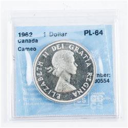 1962 Canada Silver Dollar CCCS. PL-64
