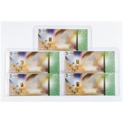 Lot (5) 24kt Pure Gold Bar 'Cash Gold' Note -  Bar is Located in the Note
