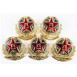 Lot (5) 'Chinese' Navy Cap Badges