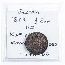 Sweden 1873 1 ORE (VF) KM#728 Error Coin SVFRIGGS