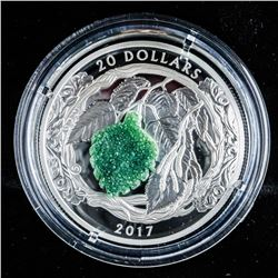 .9999 Fine Silver $20.00 Coin 'Birch Leaves with Drusy Stone' LE