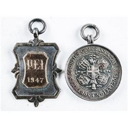 Lot (2) Sterling Silver Pendants 1916 and 1947