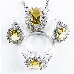 925 Silver Jewellery Set, Oval Citrine and Clear Swarovski Elements Earrings, Pendant and Chain