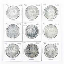 Group (9) 1966 CAD Silver Dollars