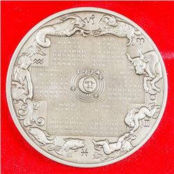 F.M. 1974 Calendar Art Medal 4500 grains 9.375oz Sterling Silver