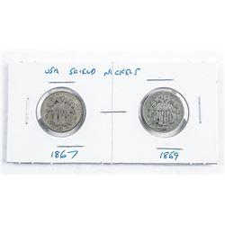 Pair USA Shield Nickels 1867 and 1869