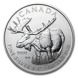 Sold Out - $5 Moose .9999 Fine Silver Coin. Royal Canadian Mint.