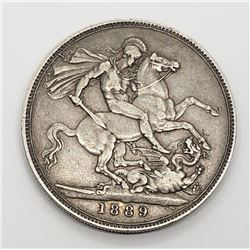 1889 UK GREAT BRITAIN SILVER CROWN