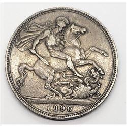 1890 UK GREAT BRITAIN SILVER CROWN