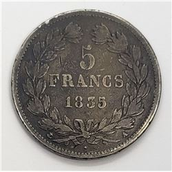 1835 FRANCE SILVER 5 FRANCS LOUIS PHILIPPE