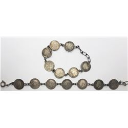 2-FOREIGN SILVER COIN BRACELETS