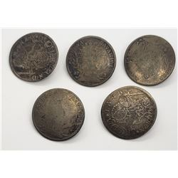 5-SILVER FOREIGN COIN HANDCRAFTED BUTTONS