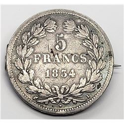 1854 FRANCE 5 FRANCS SILVER COIN PIN