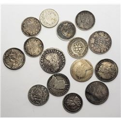 15-SILVER FOREIGN COINS - SMALL EARLY DATE COINS