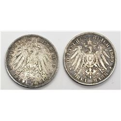 1909 & 1910 GERMANY 3 DREI MARK