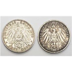 1910 & 1911 GERMANY 3 DREI MARK