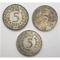 3-GERMAN 5 DEUTSCHE MARK SILVER COINS